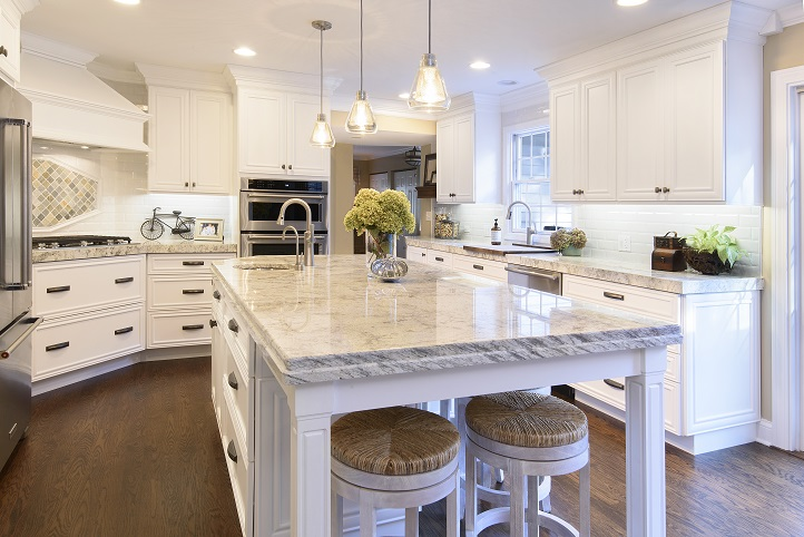 White Cabinets Create A Crisp Clean Look In Naperville Kitchen