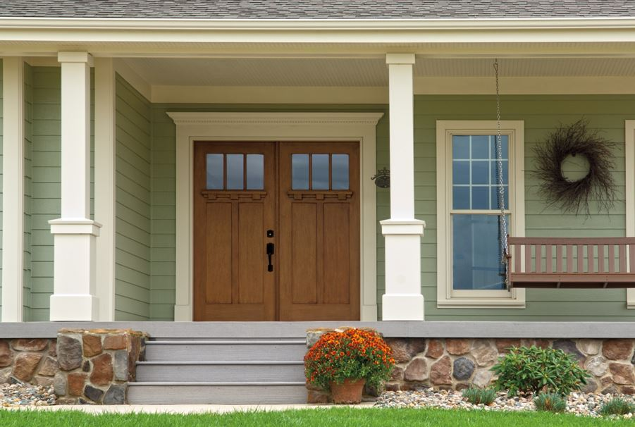 Pella Craftsman Door Enhanced By Front Porch